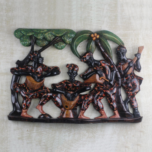 Hand Carved Ghanaian Wood Wall Relief Panel 'Drumming and Dancing'