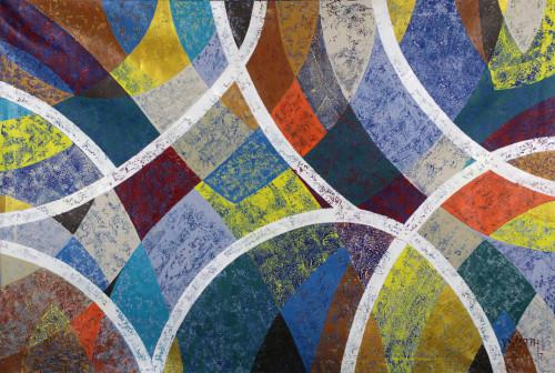 Abstract Cubist Rainbow Painting in Acrylic on Canvas 'Rainbow'