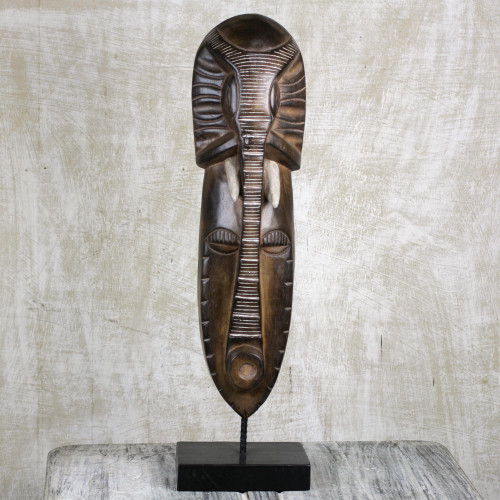 Elephant Themed African Wood Mask on Stand 'Elephant Forgiveness'