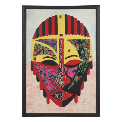 Cotton Batik African Mask Oil on Cotton Collage from Ghana 'Obrapa'