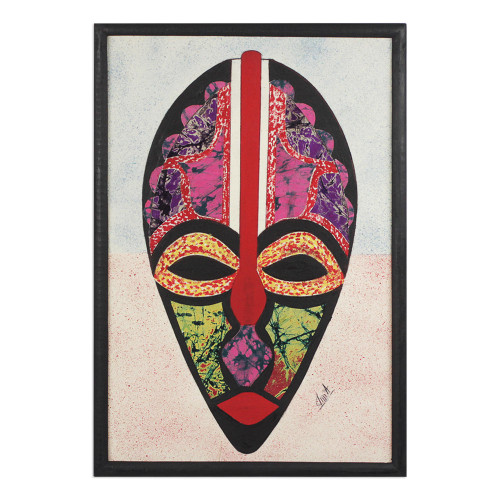 African Mask Oil on Cotton Batik Collage from Ghana 'Odo Akan'
