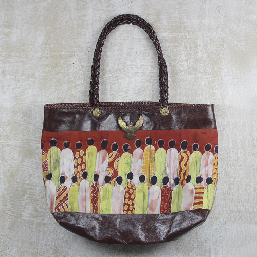 Handcrafted Batik Cotton Accent Leather Tote from Ghana 'Gather Together'