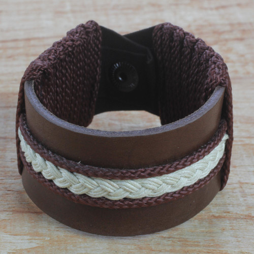 Men's Brown Leather with Braided Cord Wristband Bracelet 'Fraternal Love'