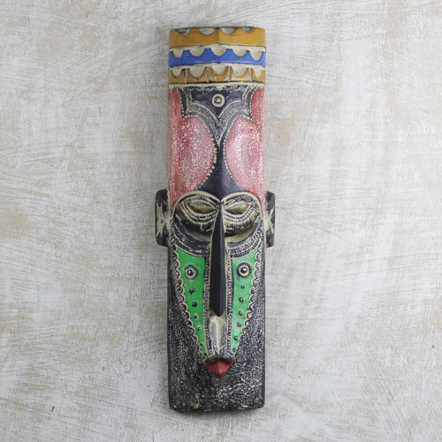 Sese-dua Wood and Brass and Aluminum Wall Mask from Ghana 'Msizi'