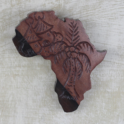 Hand Carved Ebony Wood Map of Africa Wall Art from Ghana 'Delights of Africa'