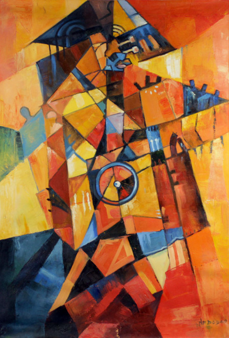 Signed Orange Abstract Painting from Ghana 'Griot'