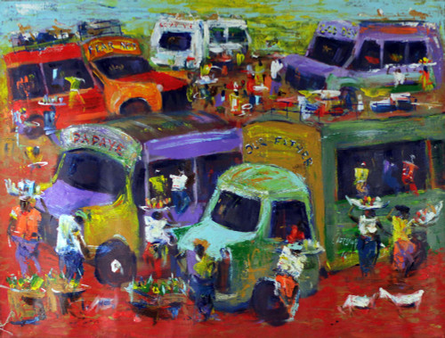 Signed Expressionist Market Scene Painting from Ghana 'Market People'