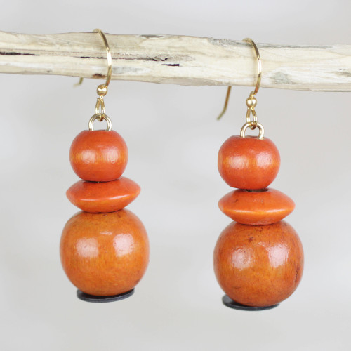 Orange Sese Wood and Recycled Plastic Dangle Earrings 'Tropical Sunset'