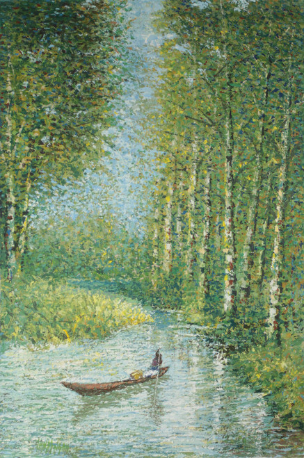 Impressionist Painting of a Canoe in the Forest from Ghana 'Silent Sweat'
