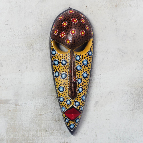 Artisan Crafted Painted African Mask from Ghana 'Color of Love'