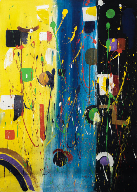 Signed Original Abstract Painting from Ghana 'Stars'