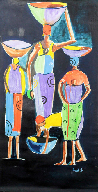 Signed Expressionist Painting of Women from Ghana 'Darkness'