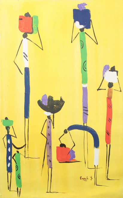 Signed Abstract Painting of People from Ghana 'Bright Day'