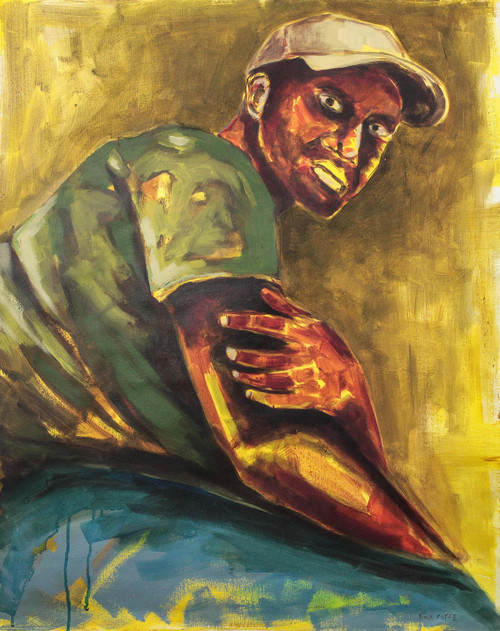 Signed Painting of a Man with a Baseball Cap from Ghana 'Gaze on Me'