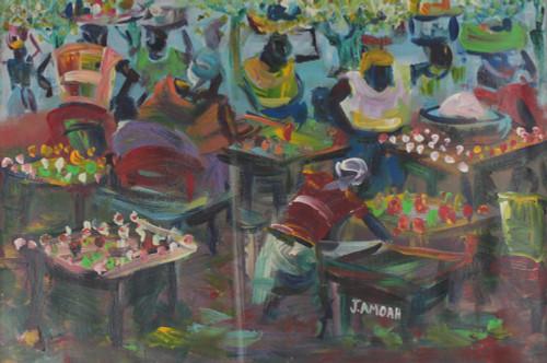 Signed Impressionist Market Scene Painting from Ghana 'Village Market'