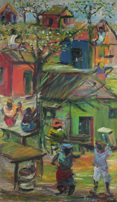 Signed Impressionist Village Painting from Ghana 'Daybreak'