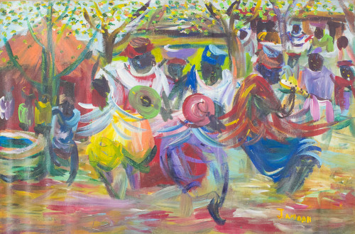 Original Acrylic on Canvas of African Musicians 'Northern Ghana Drummers'
