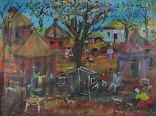 Signed Impressionist Painting of a Market Village from Ghana 'Village Trade'