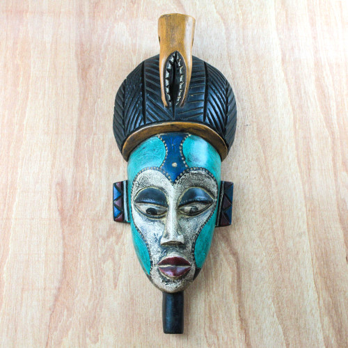 Handmade African Wood Mask in Blue from Ghana 'Benevolent Emiyi'