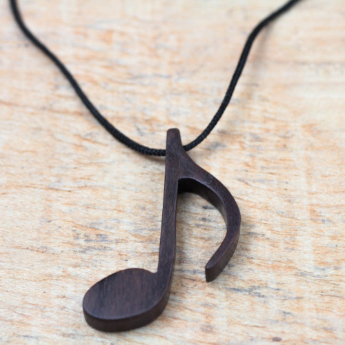 Ebony Wood Musical Note Pendant Necklace from Ghana 'Dark Note'