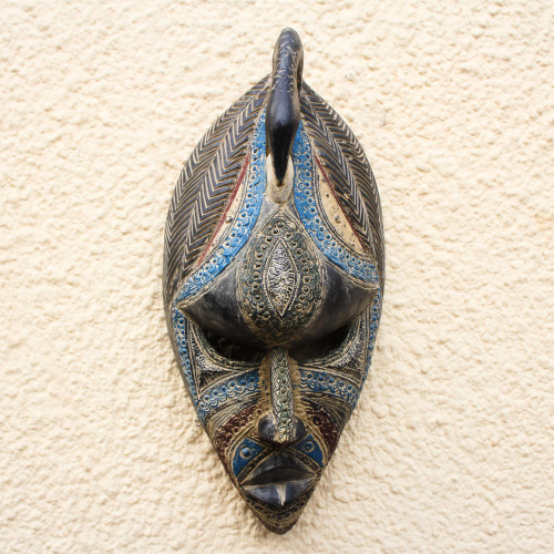 Bird-Themed Colorful African Wood Mask from Ghana 'Grateful Bird'