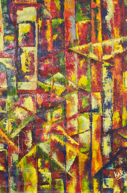 Signed Colorful Abstract Painting from Ghana 'Color Town'
