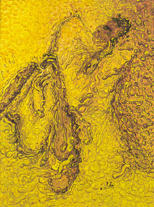Signed Abstract Painting in Yellow from Ghana 'The Saxophonist'
