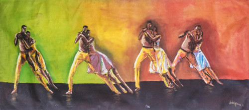 Signed Expressionist Painting of Salsa Dancers from Ghana 'Salsa Dance'