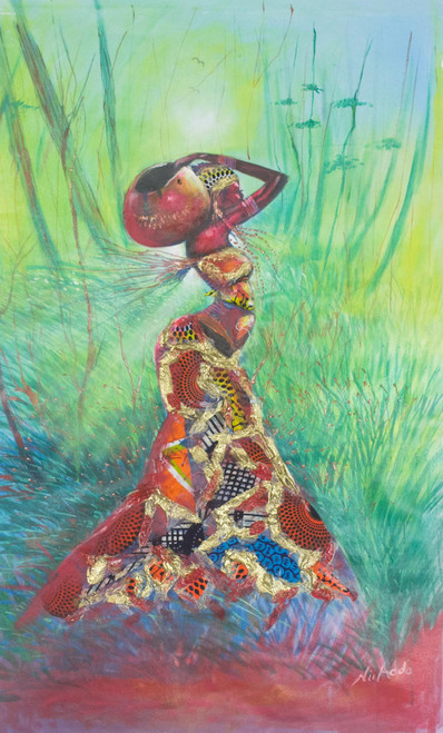 Signed Expressionist Painting of an African Woman from Ghana 'The Maiden'