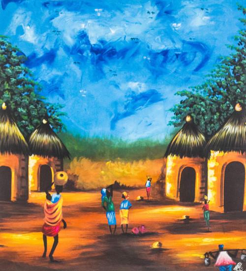 Signed Impressionist Village Landscape Painting from Ghana 'African Village Scene'