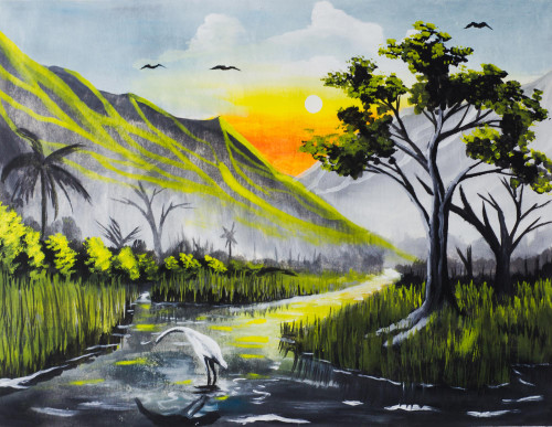 Signed African Mountainside Landscape Painting from Ghana 'The Riches of the African Land'