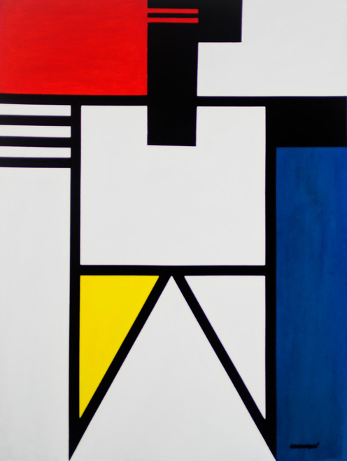 Signed Geometric Abstract Painting from Ghana 'Figure'