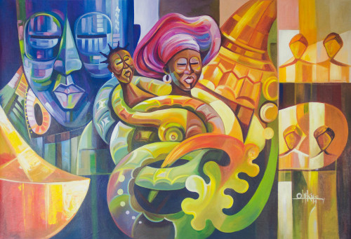 Cultural Expressionist Painting in Multicolor from Ghana 'Precious Mother'