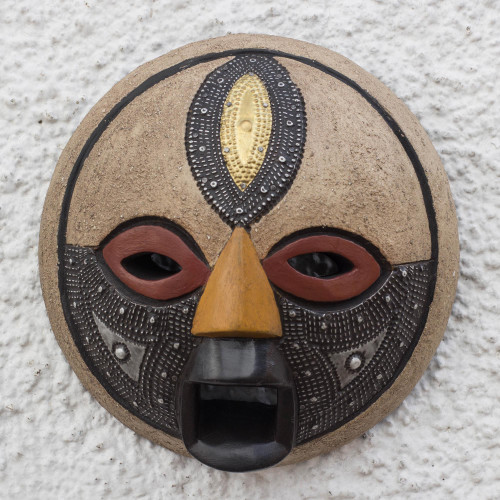 Round African Wood Mask with Brass and Aluminum Accents 'Third Eye'