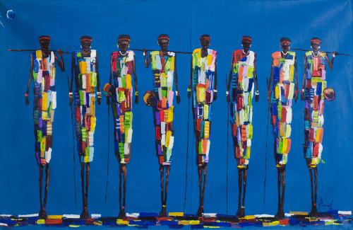 Signed Expressionist Masai Hunter Painting from Ghana 2019 'The Maasai of Kenya'