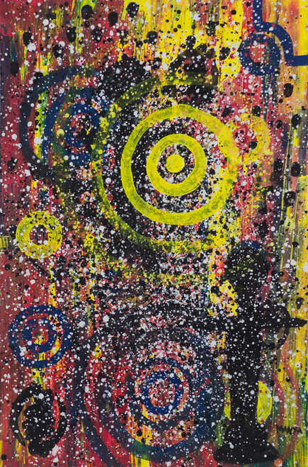 Signed Circle Motif Abstract Painting from Ghana 'Ready to Purify'