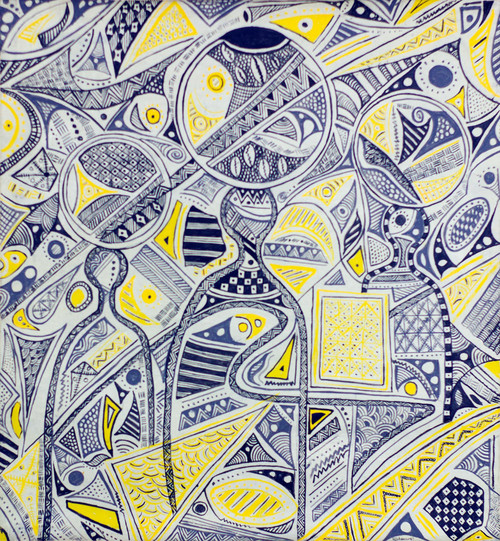 Blue White and Yellow Abstract Painting from Ghana 2019 'Cultural Ceremony'