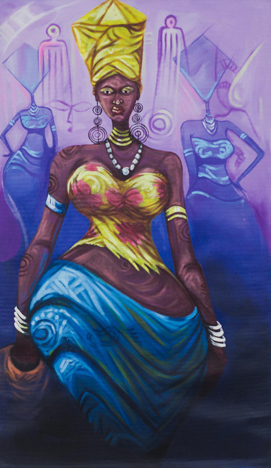 Signed Expressionist Painting of an African Woman from Ghana 'Virtuous Woman I'