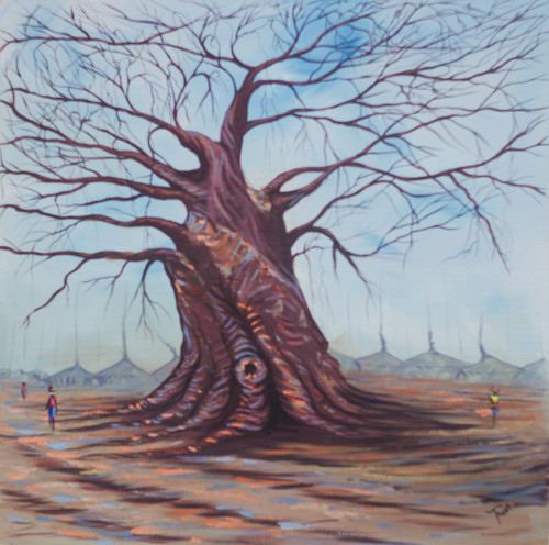 Signed Impressionist Painting of a Baobab Tree from Ghana 'Baobab Tree'
