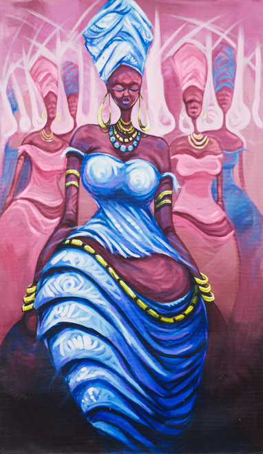 Expressionist Painting of an African Woman in Blue 'Virtuous Woman II'