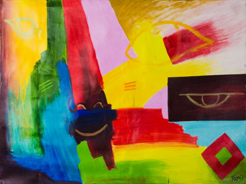 Colorful Signed Abstract Painting from Ghana 2018 'Hidden Knowledge - Space'