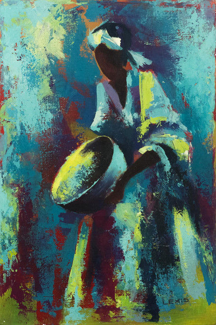 Blue Expressionist Painting of a Dancer from Ghana 'Calabash Dance I'