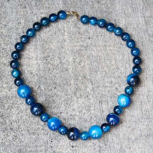 Blue Agate Beaded Necklace from Ghana 'Blue Nsroma'