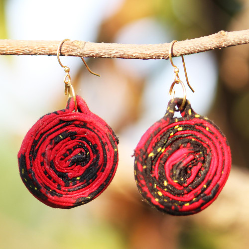Red Cotton and Recycled Glass Beaded Fabric Earrings 'Red Kaklo'