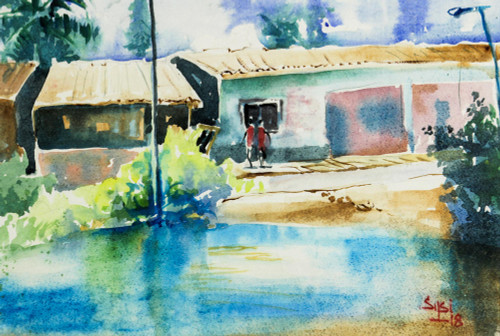 Signed Impressionist Painting of a Village from Ghana 'Tranquility'