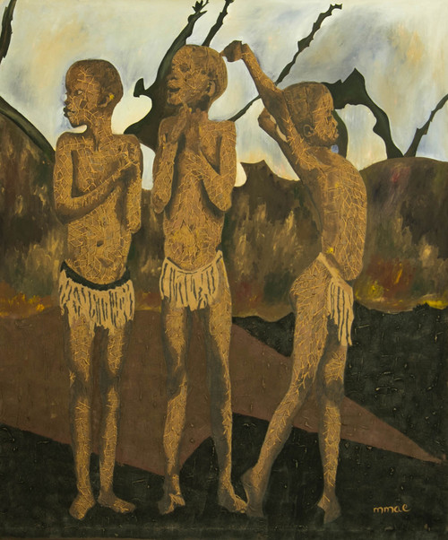 Signed Painting of Three Boys from Ghana 2019 'Playing Time'