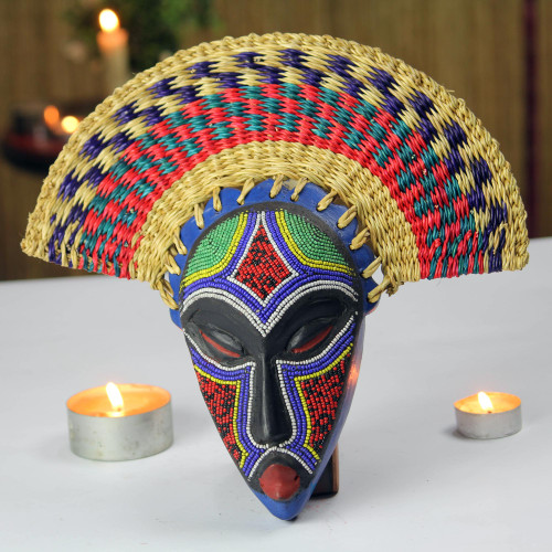 Eco-Friendly African Wood Mask with Raffia from Ghana 'Eco Akuchinyere'