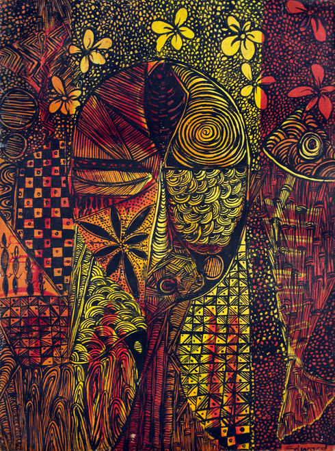 Expressionist Painting of a Woman with Intricate Motifs 'Night Romance'