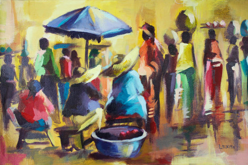 Signed Impressionist Market Scene Painting from Ghana 'Market Day Today'