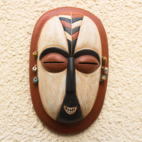 Hand-Carved African Wood Duman Mask from Ghana 'Duma'